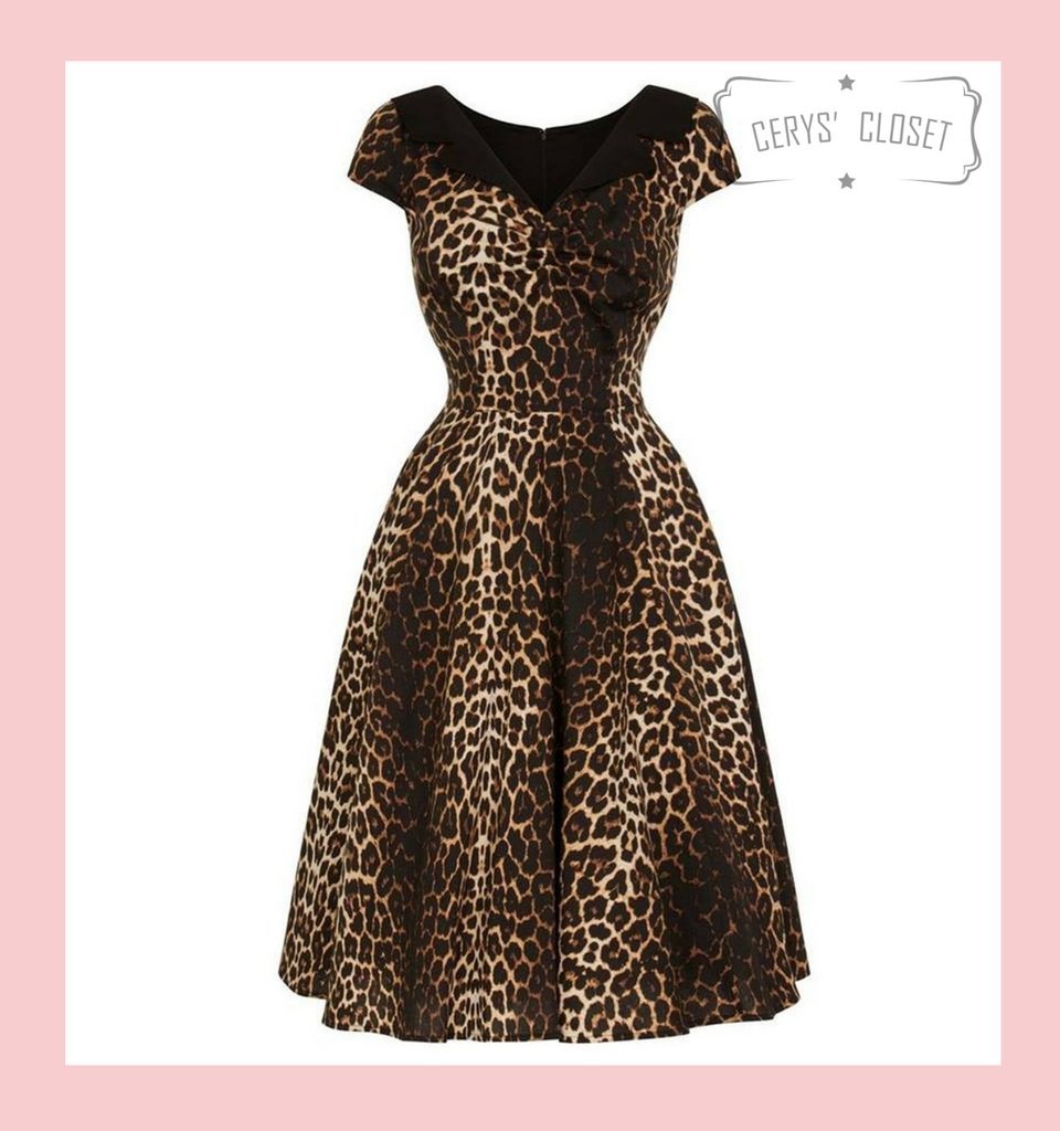 Hell Bunny Panthera Leopard Print 50s Vintage Inspired Swing Dress at Cerys' Closet