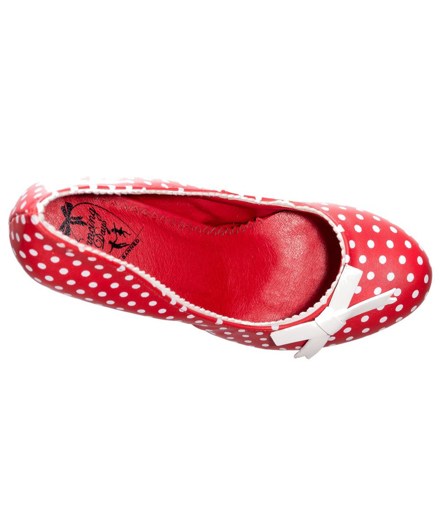 Red and White Vintage Inspired Polk Dot High Heel Stiletto Shoes