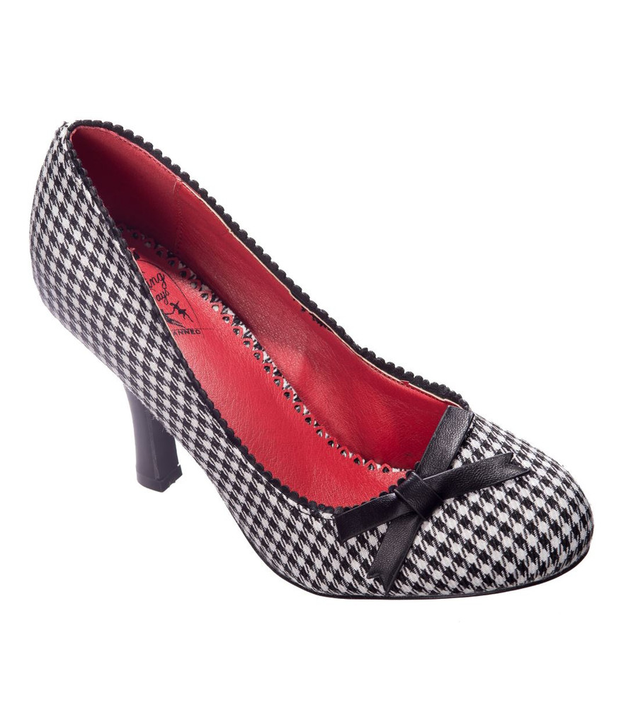 Black and White Vintage Inspired Hounds Tooth High Heel Stiletto Shoes