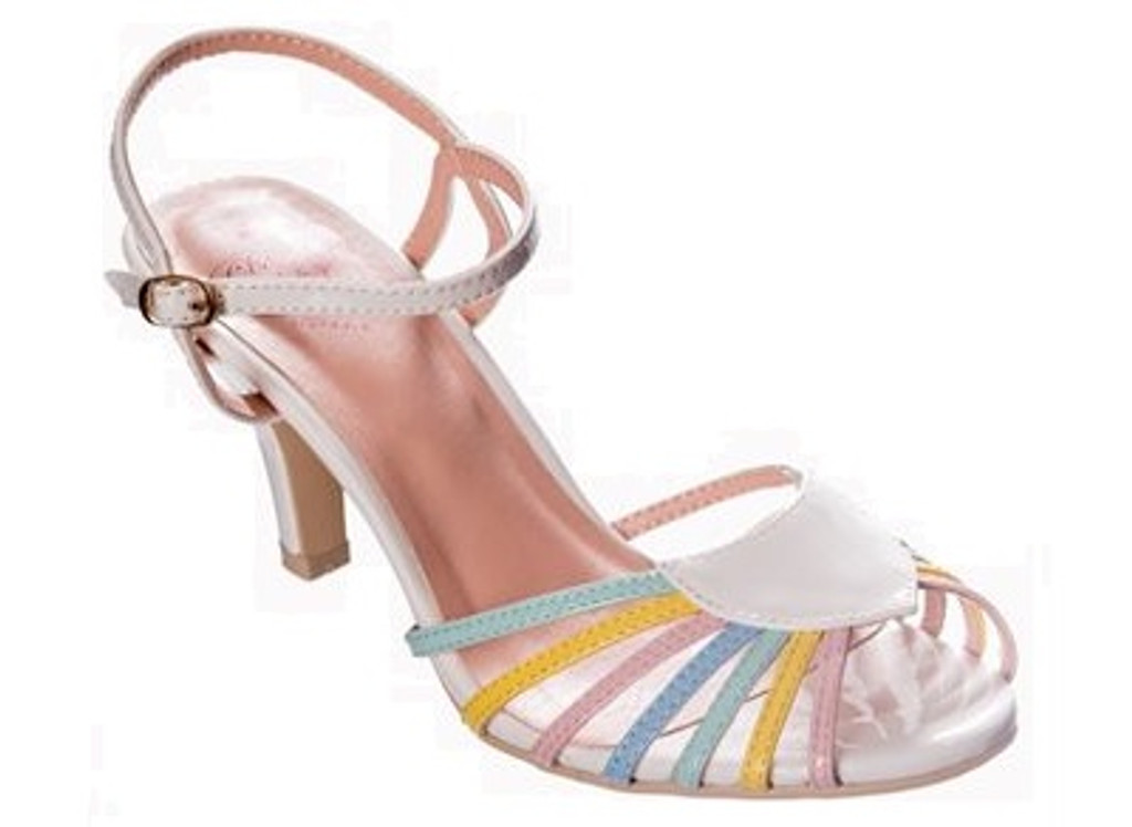 40s and 50s Vintage Inspired Peep Toe Sandals - Multicoloured