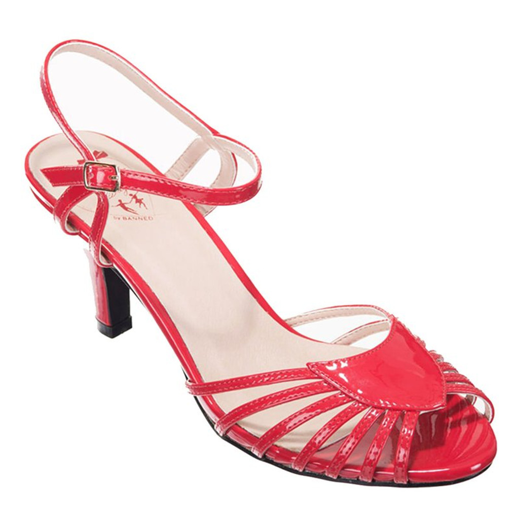 40s and 50s Vintage Inspired Peep Toe Sandals - Red