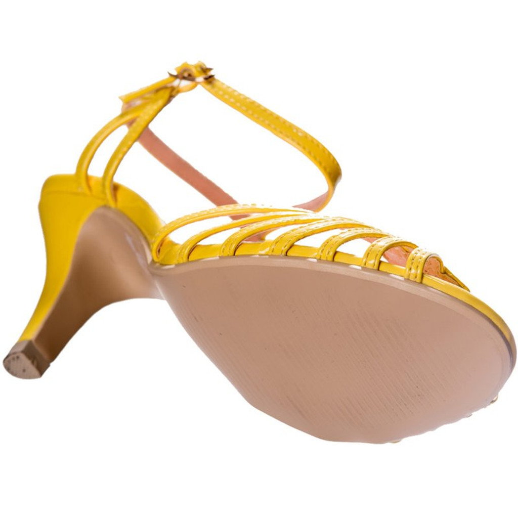 40s and 50s Vintage Inspired Peep Toe Sandals- Yellow
