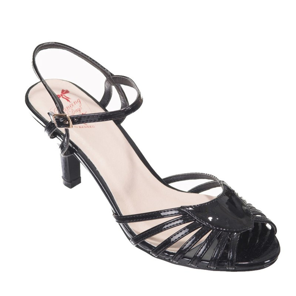 40s and 50s Vintage Inspired Peep Toe Sandals - Black