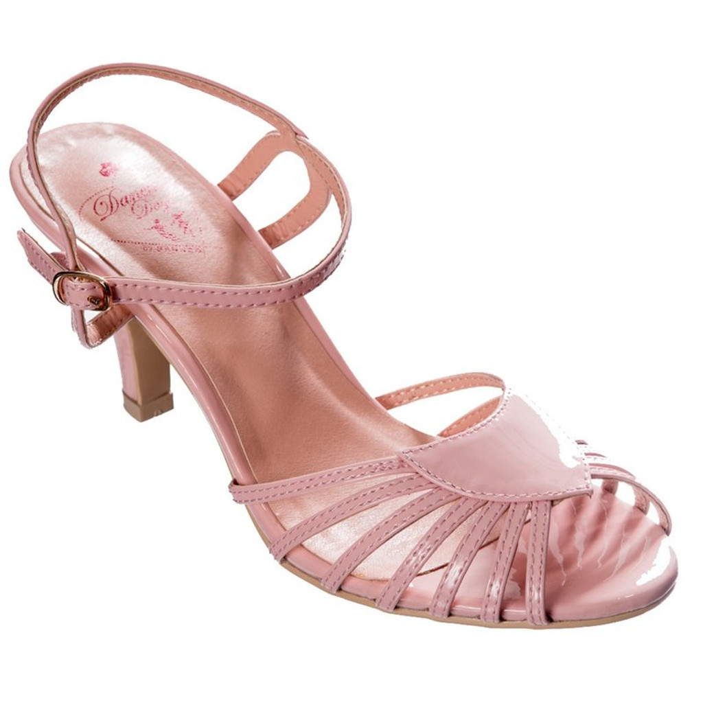 40s and 50s Vintage Inspired Peep Toe Sandals - pink