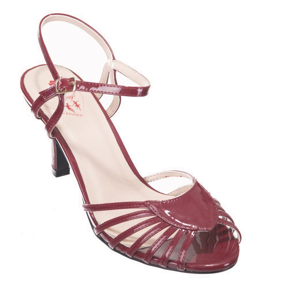 40s and 50s Vintage Inspired Peep Toe Sandals - Bordeaux