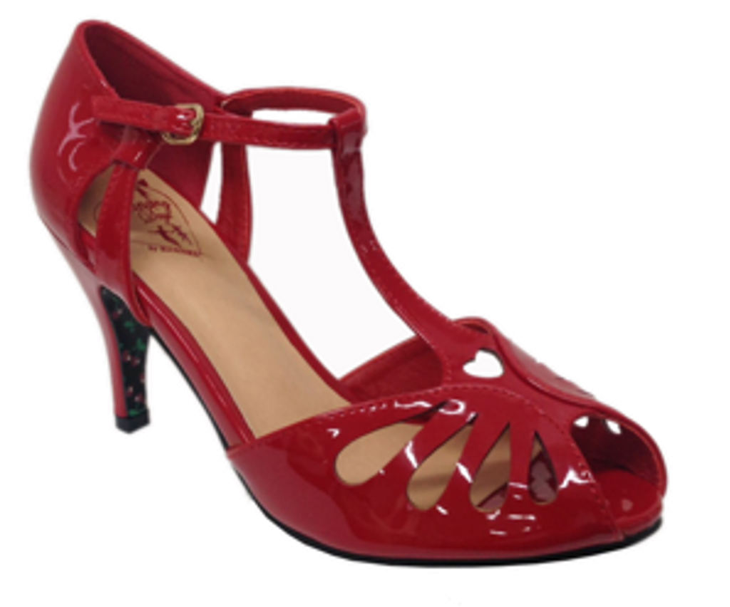 Secret Love 40s 50s Vintage Inspired Patent Peep Toes Sandals - Red
