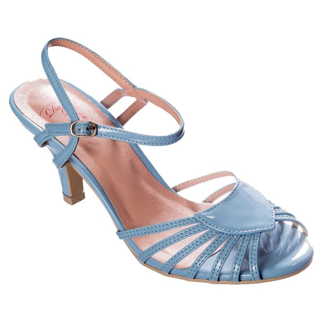 40s and 50s Vintage Inspired Peep Toe Sandals by Banned Dancing Days blue