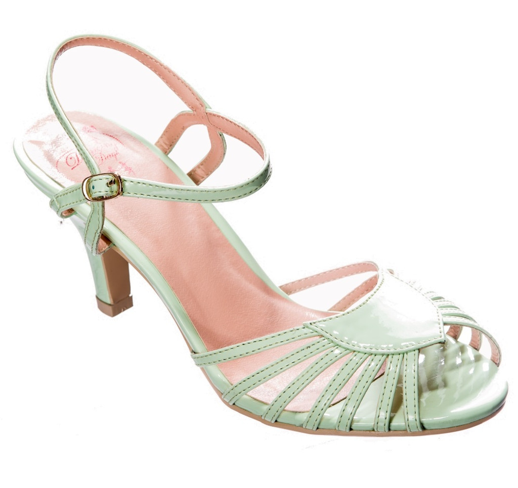 40s and 50s Vintage Inspired Peep Toe Sandals by Banned dancing days Mint