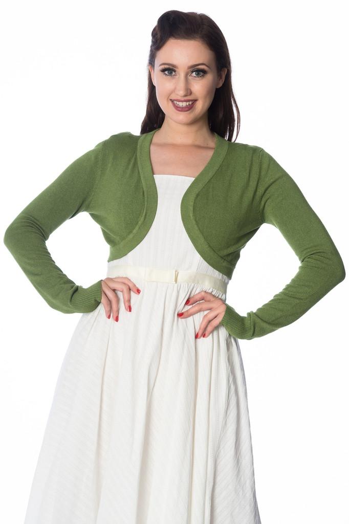 50s Vintage Inspired Long Sleeve Soft Touch Bolero - Apple Green