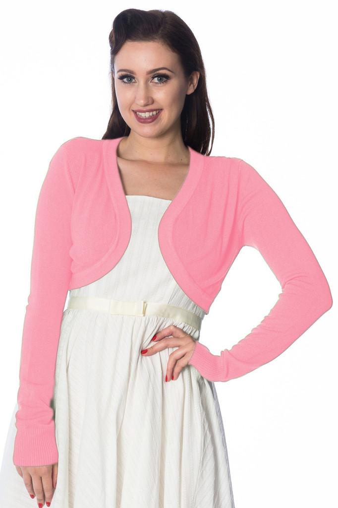 50s Vintage Inspired Long Sleeve Soft Touch Bolero - Pale Pink