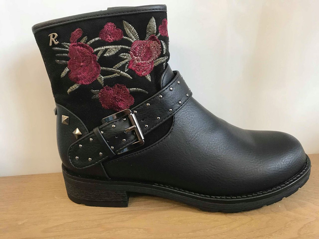 Refresh Black Ankle Boots with Red Rose Embroidery Embellishments and Faux Buckle Detail