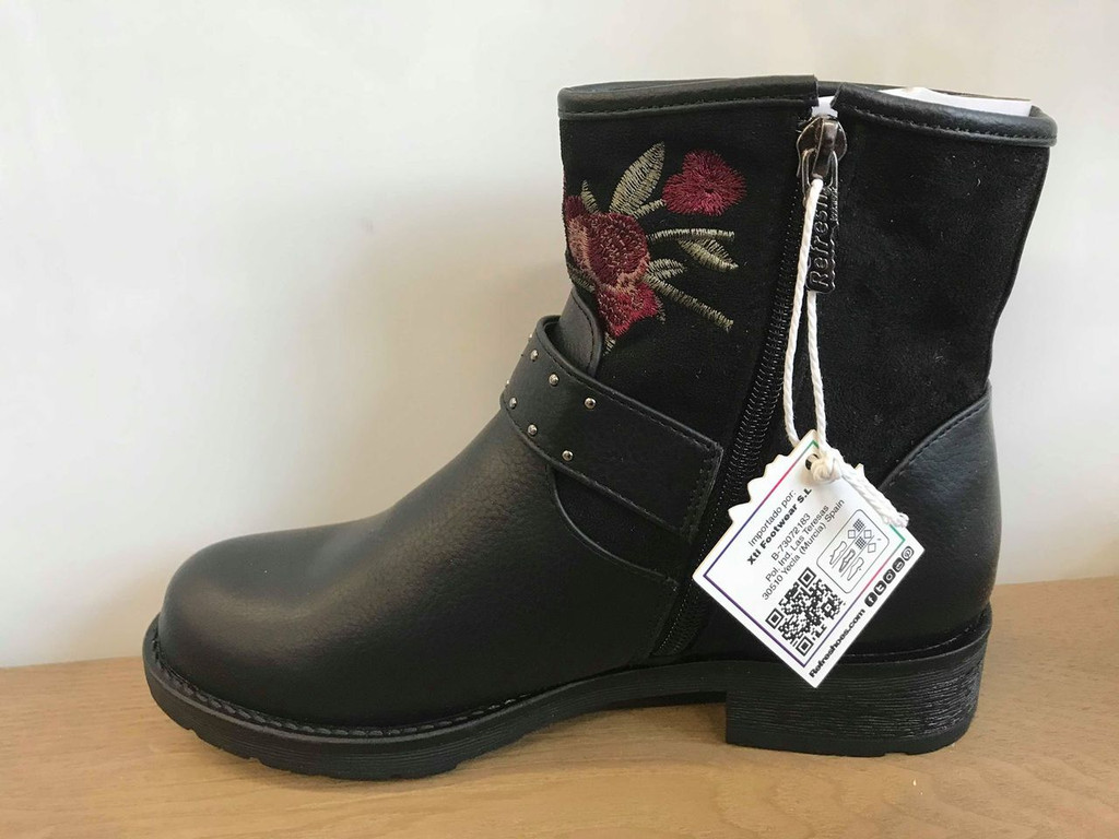 Refresh Black Rose Ankle Boots