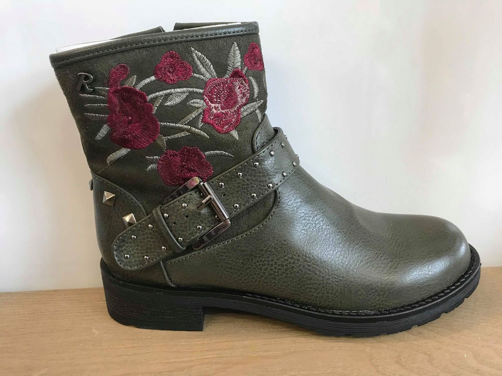 Refresh Khaki Green Ankle Boots with Red Rose Embroidery Embellishments and Faux Buckle Detail