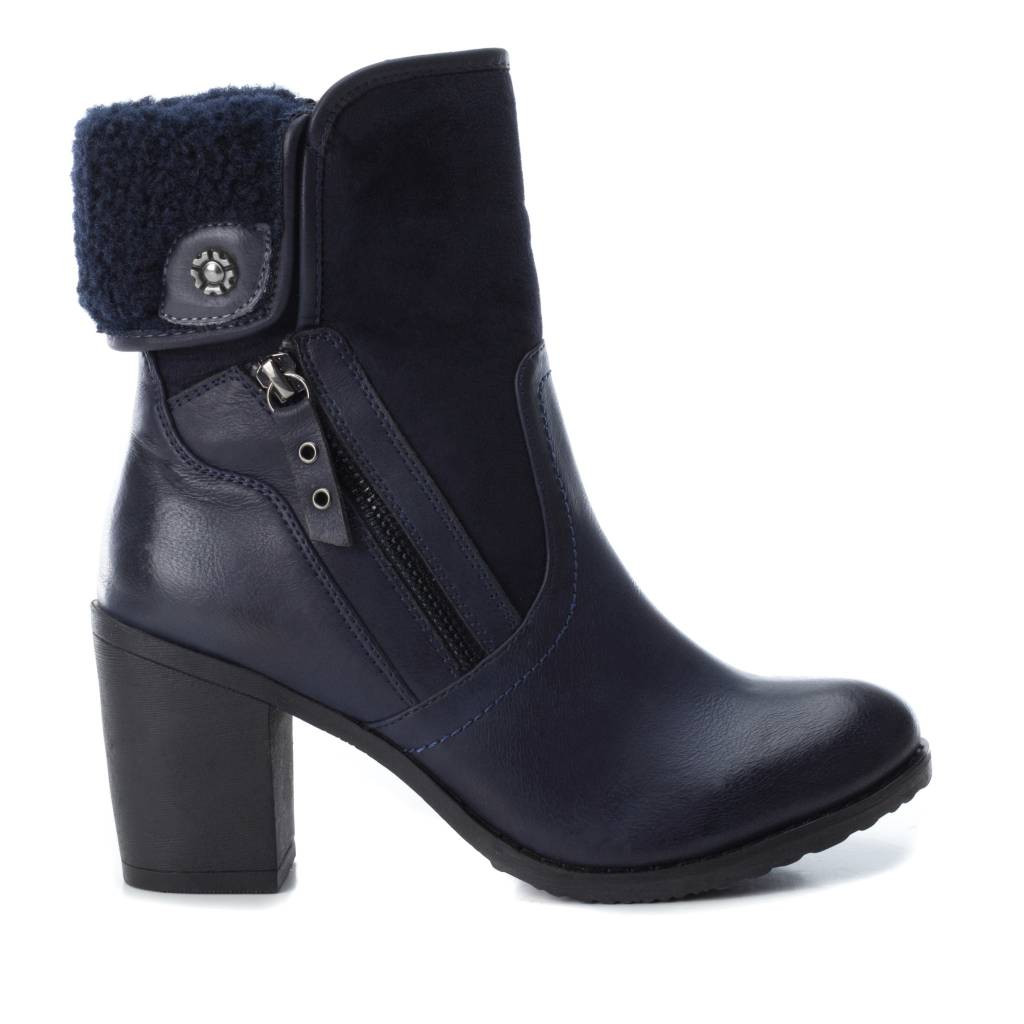 Refresh Black High Heel Ankle Boots With Faux Zip and Wool Lining