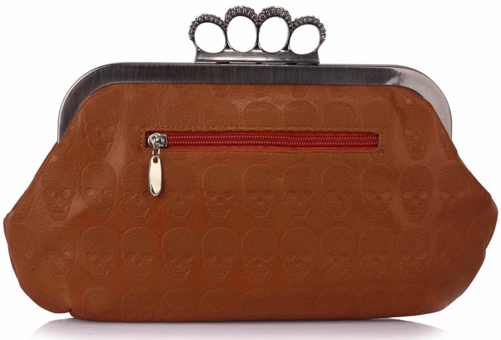 Skull Embossed Clutch Bag with Shoulder Chain - Brown