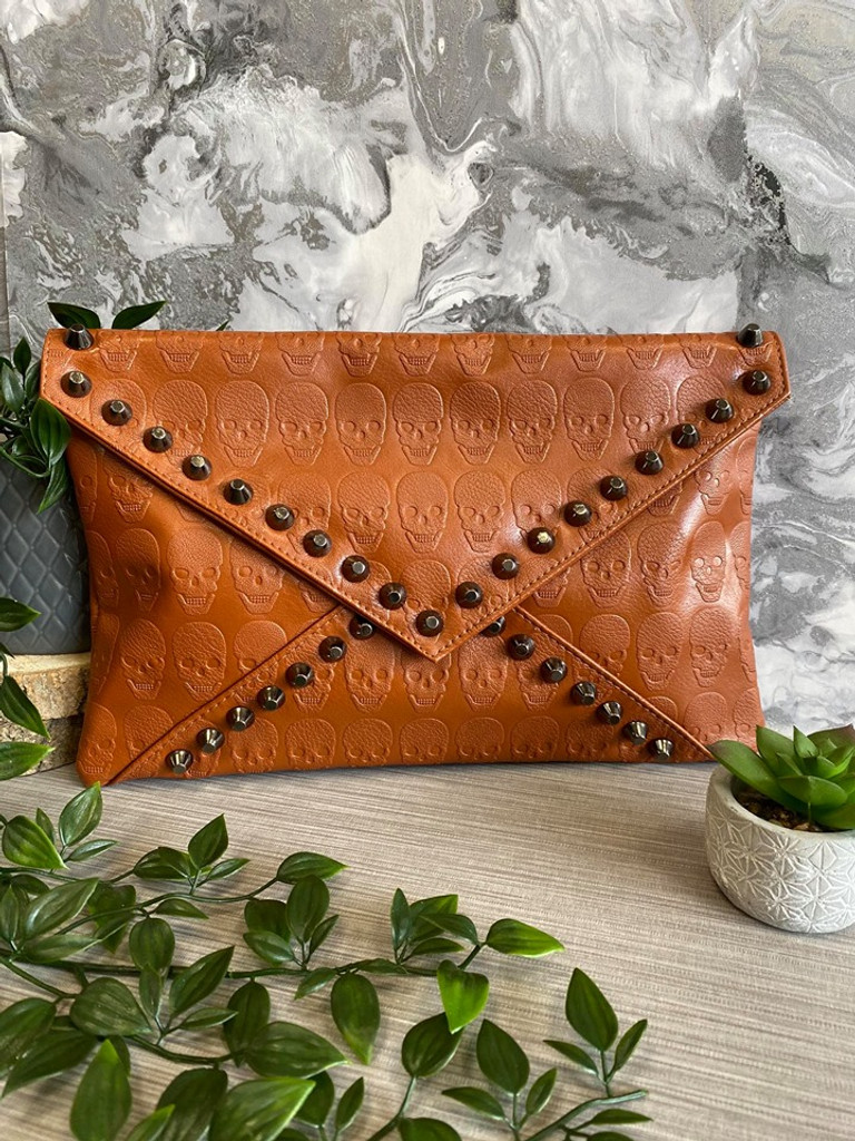 Skull Embossed and Studded Envelope Clutch Bag - Brown