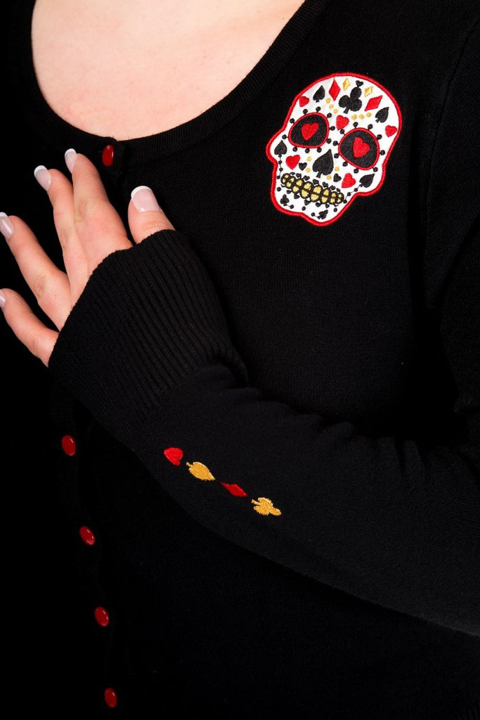 Black Soft Touch Cardigan With Red Embroidered Candy Skull Embellishments