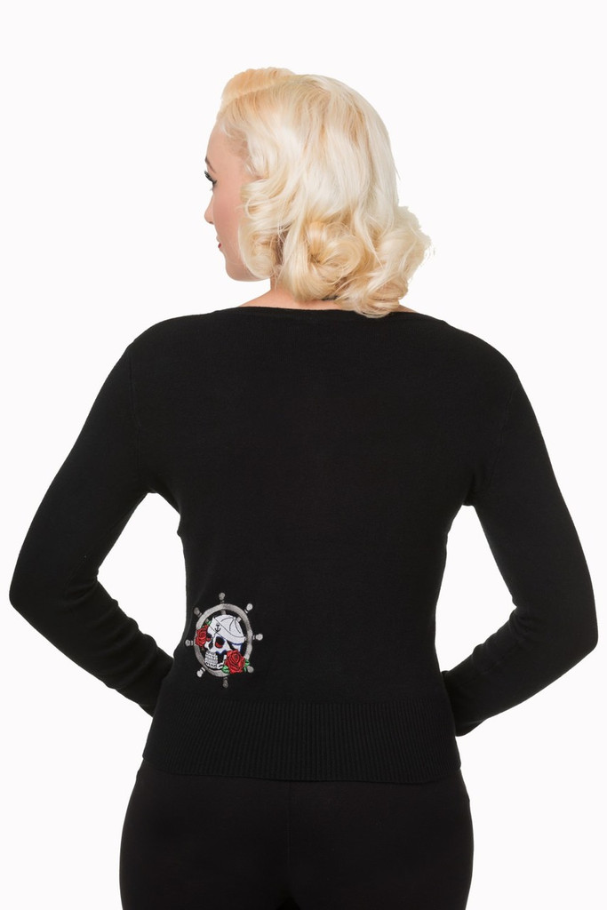 Black Scoop Neck Cardigan With Embroidered Anchor and Rose Embellishments