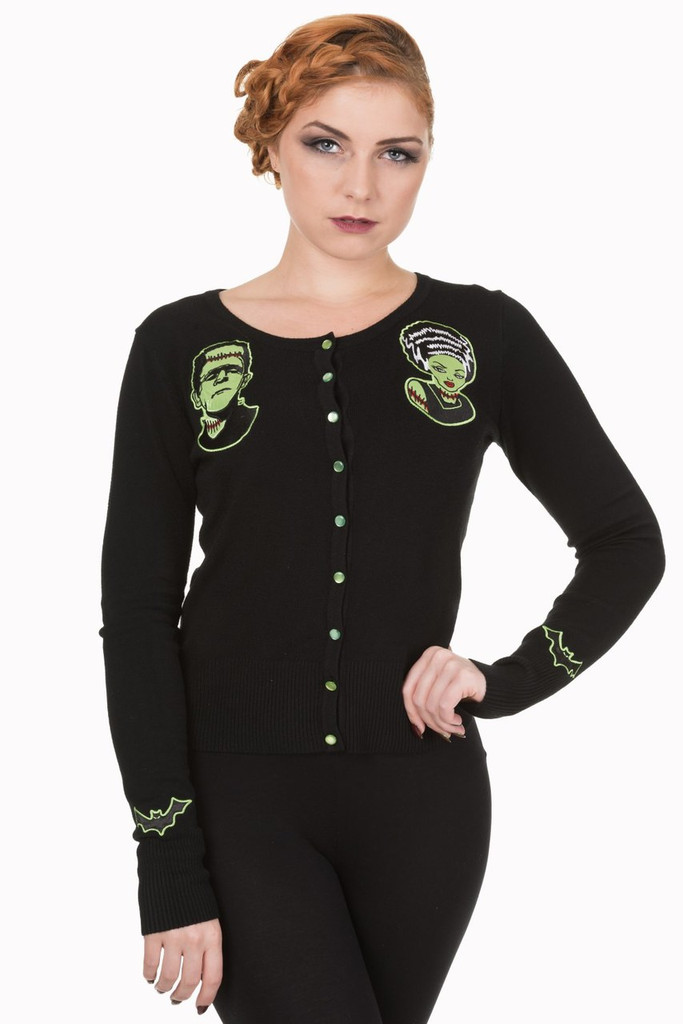 Frankenstien and Bride Psychobilly Cardigan
