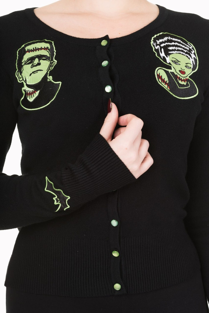 Black Scoop Neck Cardigan With Embroidered Frankenstein and Bride Embellishments