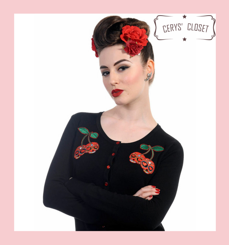 Black Scoop Neck Cardigan With Embroidered Cherry Skull Embellishments