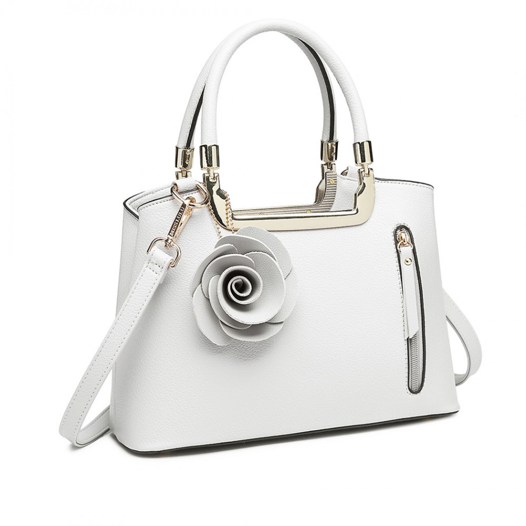 Faux Leather Rose Tote - White