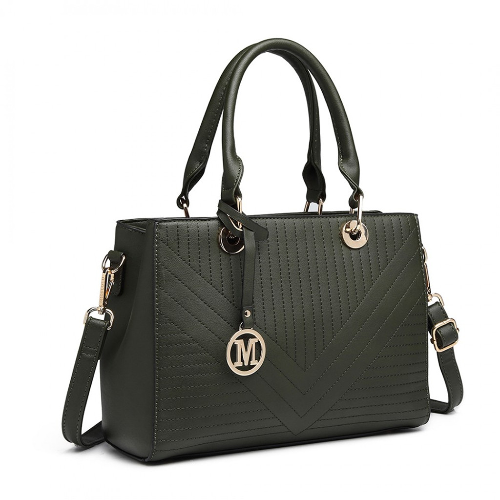 Faux Leather Chevron Quilted Handbag - Green