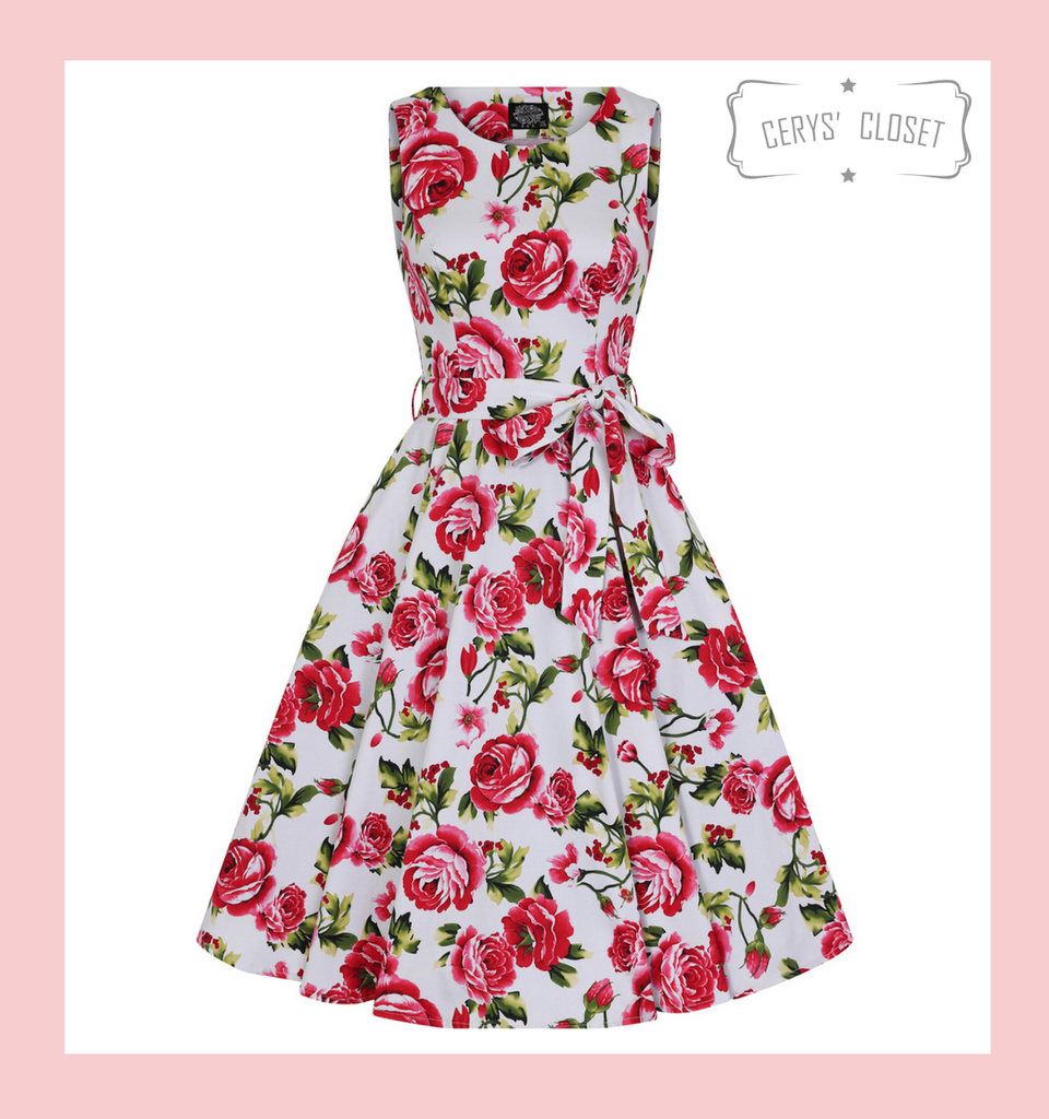 Hearts and Roses London 50s Vintage Inspired Sleeveless Swing Dress with Pink Roses and Green Leaves on White Background at Cerys' Closet