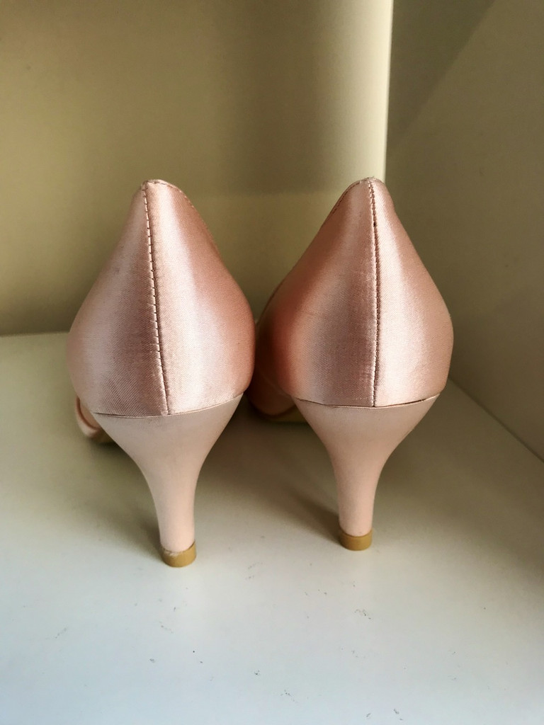 Pretty Champagne and Diamante Court Shoes