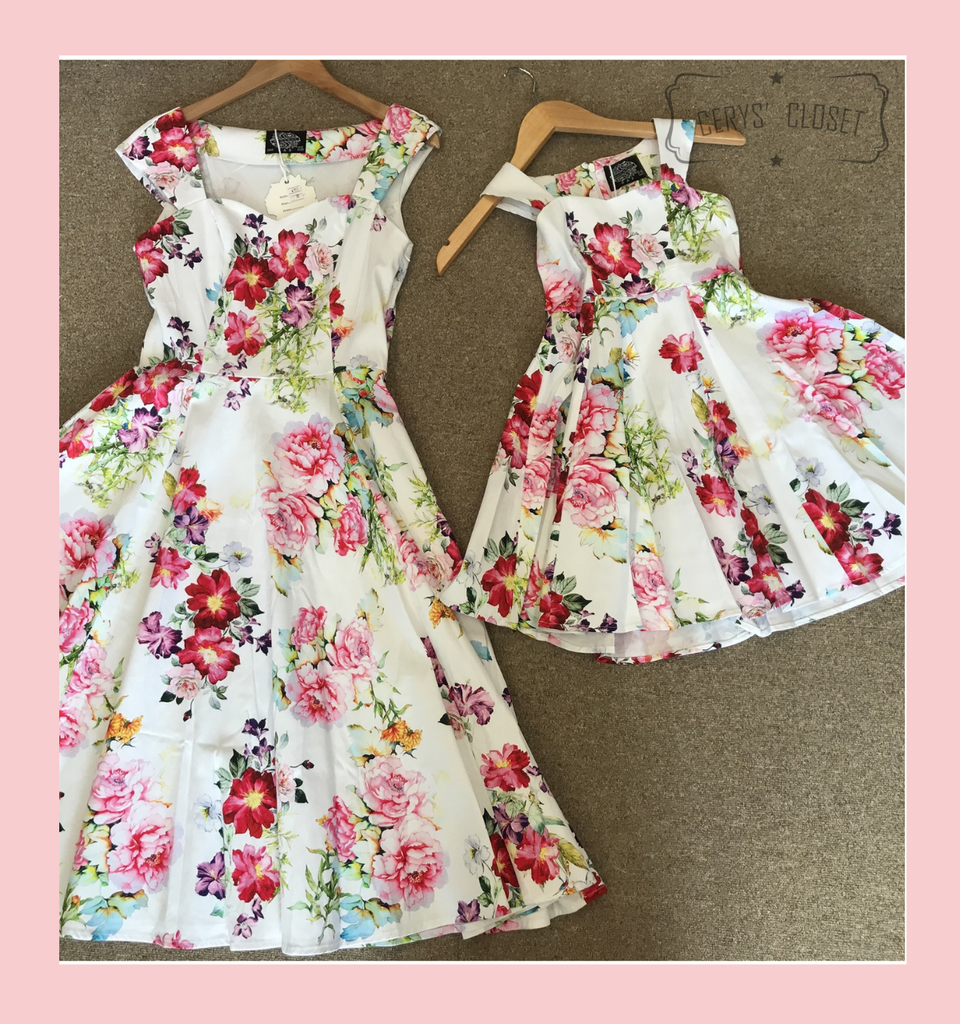 Hearts and Roses London  PRETTY PEONY AND BAMBOO FLORAL PRINT 50S VINTAGE INSPIRED SWING DRESS - PEONY KIDS at Cerys' Closet