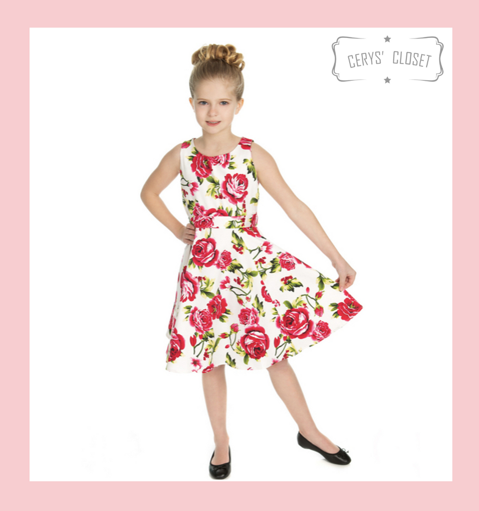 Hearts and Roses London PINK ROSES AND GREEN LEAVES ON WHITE BACKGROUND 50S VINTAGE INSPIRED SWING DRESS - ELENOR KIDS at Cerys' Closet