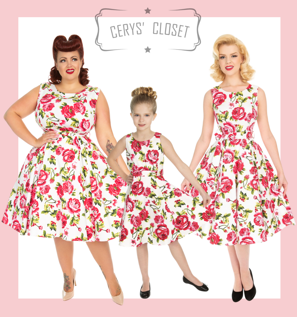 PINK ROSES AND GREEN LEAVES ON WHITE BACKGROUND 50S VINTAGE INSPIRED SWING DRESS - ELENOR KIDS