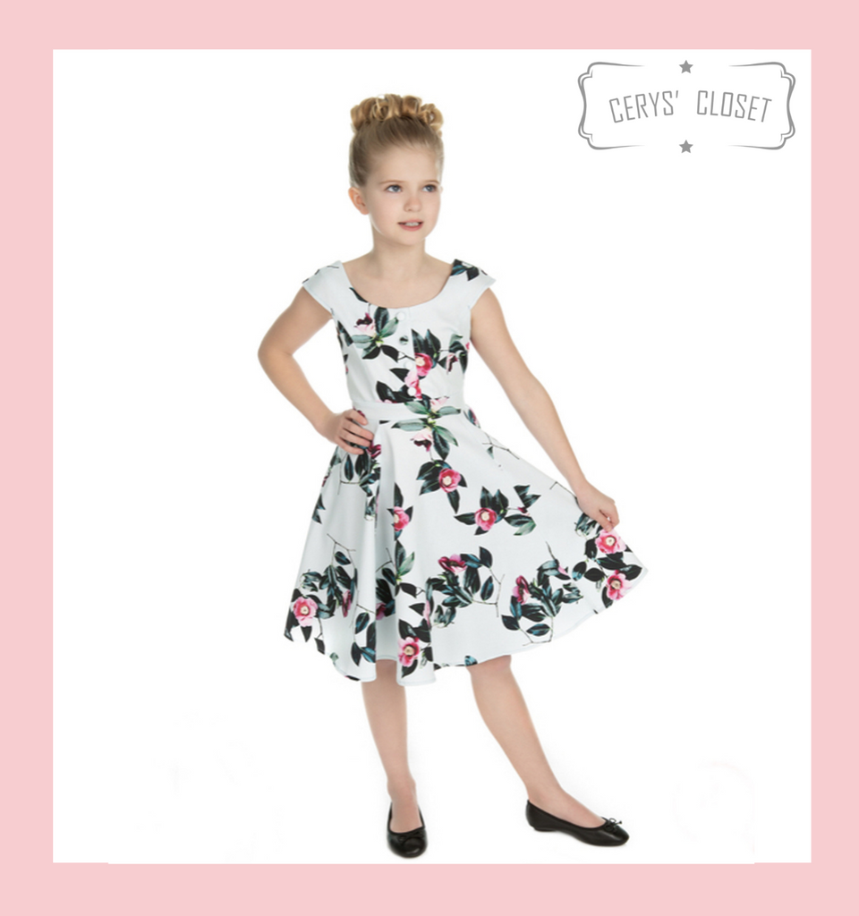 Hearts and Roses London DUCK EGG BLUE AND PINK FLORAL 50S CHILDRENS VINTAGE INSPIRED SWING DRESS - ISOBELLE at Cerys' Closet