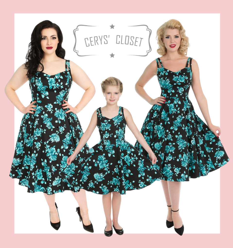 Hearts and Roses London childrens BLACK AND BLUE FLORAL 50S VINTAGE INSPIRED TEA DRESS WITH SWEETHEART NECKLINE - ROSECAE