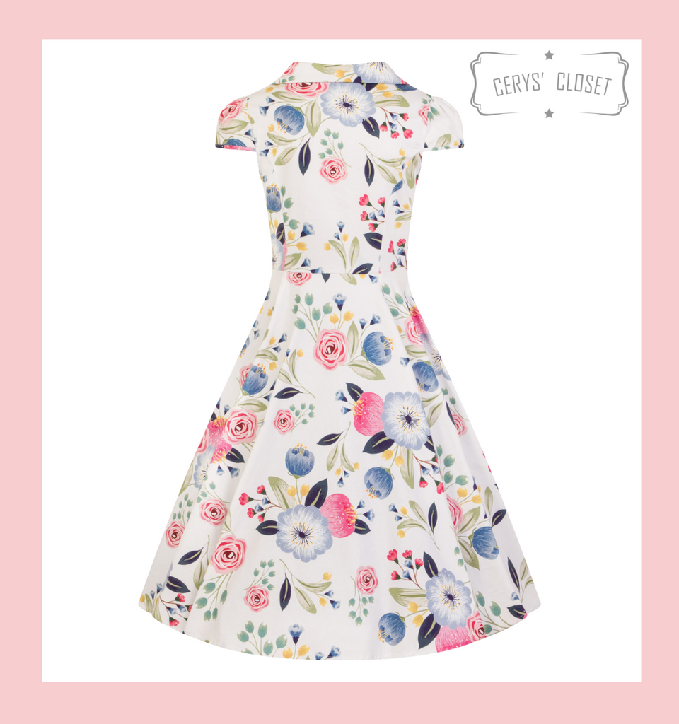 Hearts and Roses London White Blossom 1950s Vintage Style Faux Shirt Tea Dress with Pink and Blue Floral Design - Beatrice at Cerys' Closet