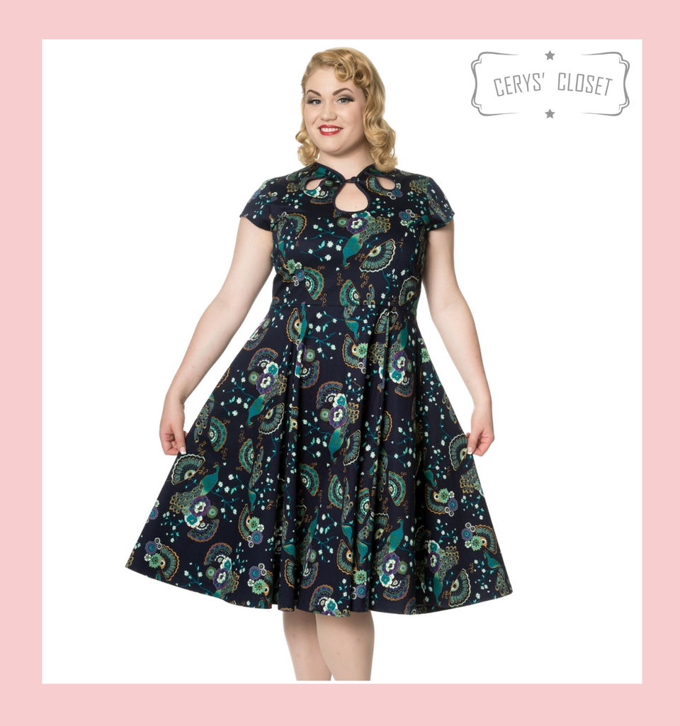 Banned Apparel Pretty Peacock Teal and Navy 50s Vintage Inspired Swing Dress at Cerys' Closet