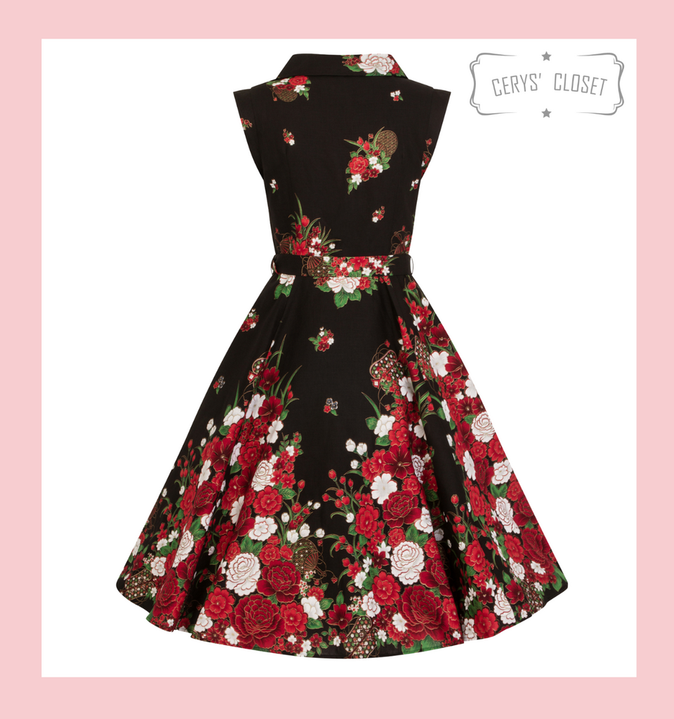 Hearts and Roses London Black Red and Gold Oriental Inspired 50s Vintage Faux Shirt Swing Dress at Cerys' Closet