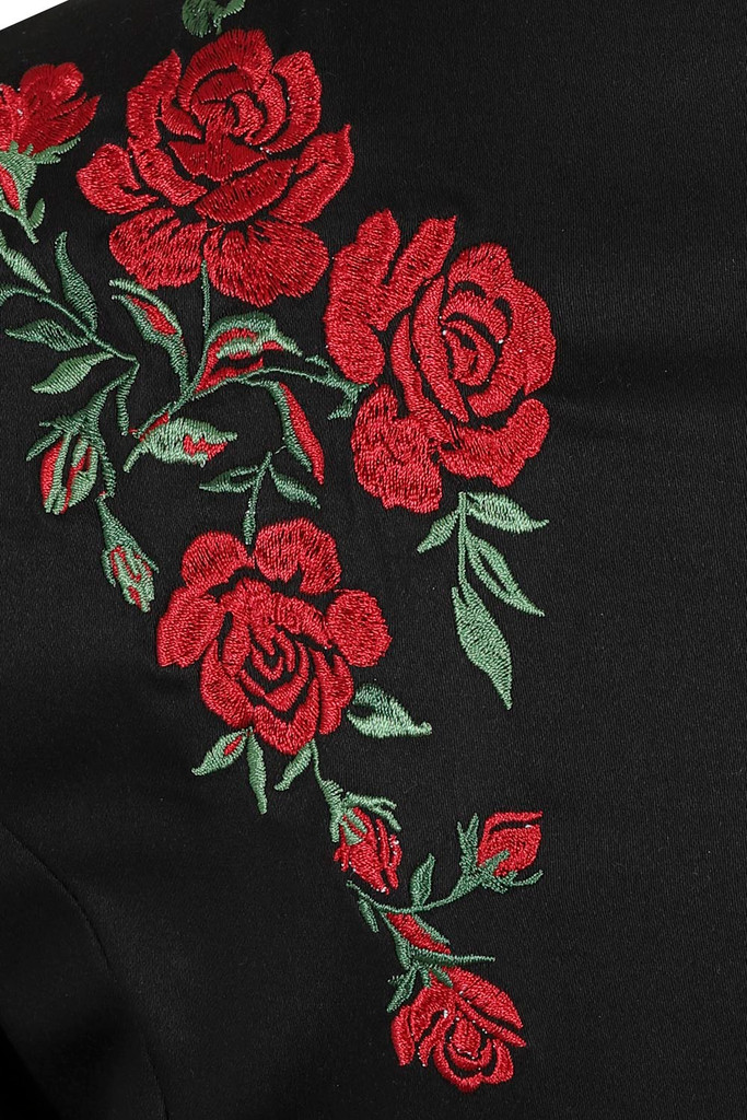 Hearts and Roses London Dress 50s Vintage Inspired Black Dress with Red Embroidered Roses on the Shoulders and 3/4 Sleeves at Cerys' Closet