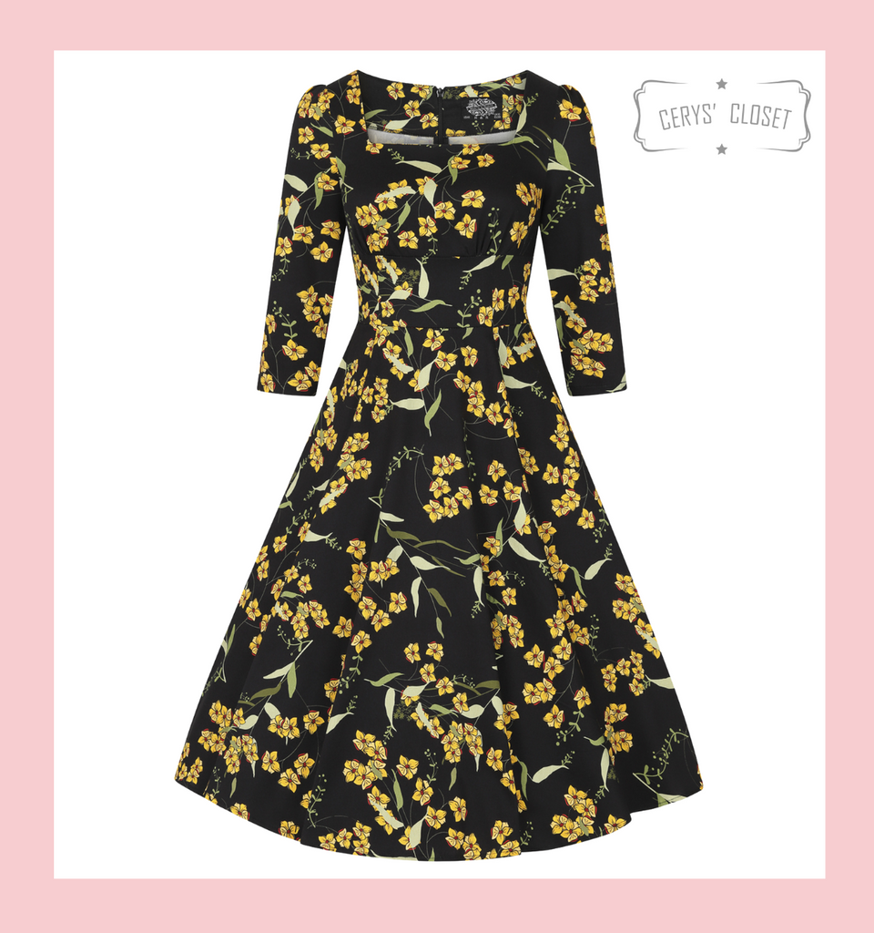 Hearts and Roses London Dress at Cerys' Closet. Beautiful Yellow Floral on Dark Background 50s Vintage Inspired Swing Dress with 3/4 Sleeves - Florence