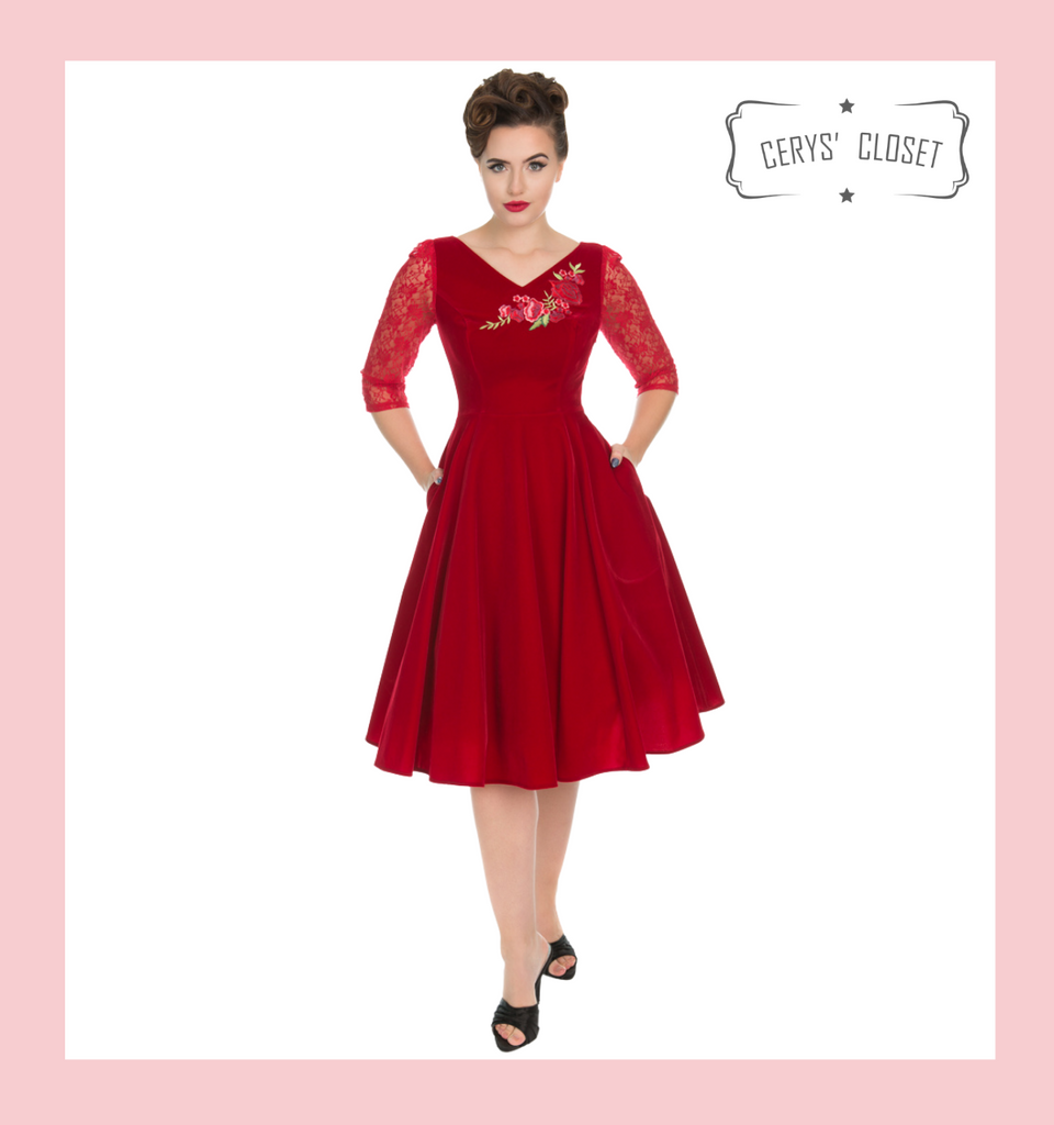 Hearts and Roses London Dress 50s Vintage Inspired Swing Dress Velvet with Lace 3/4 Sleeves and Rose Embroidered Applique Detail - Holly Red