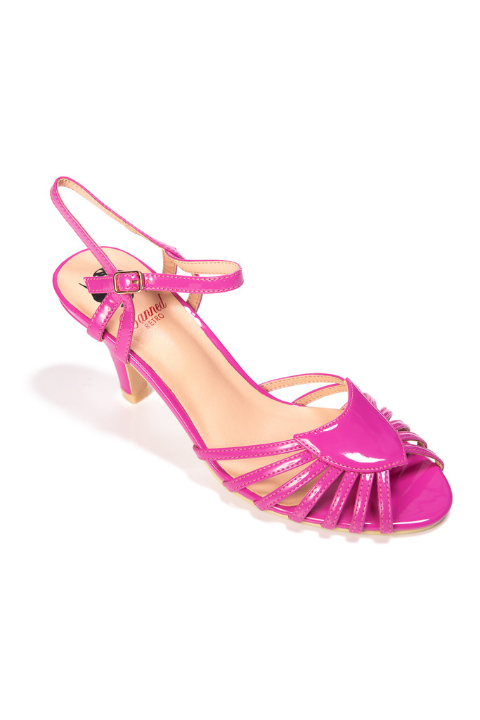 Dancing Days Amelia 1940s Retro Sandals - Hot Pink