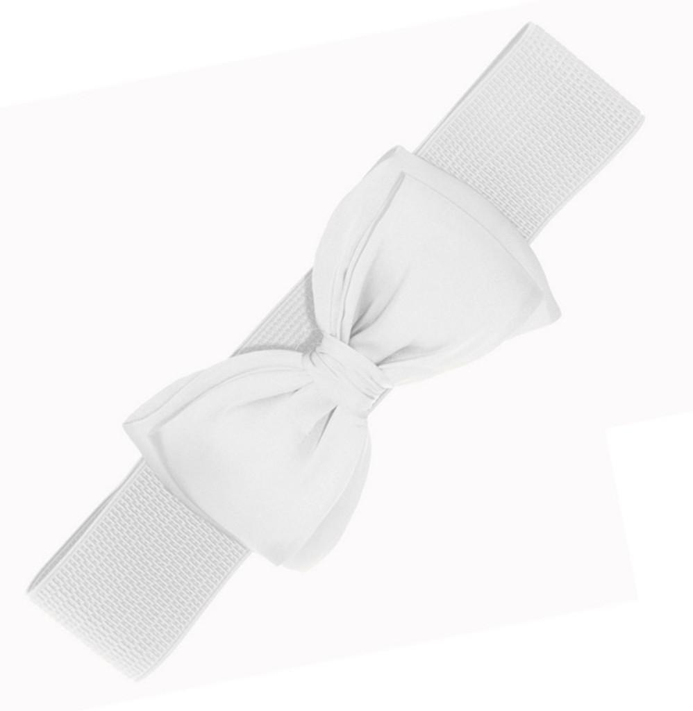 50s Vintage Inspired Elasticated Waspie Satin Bow Belt - White