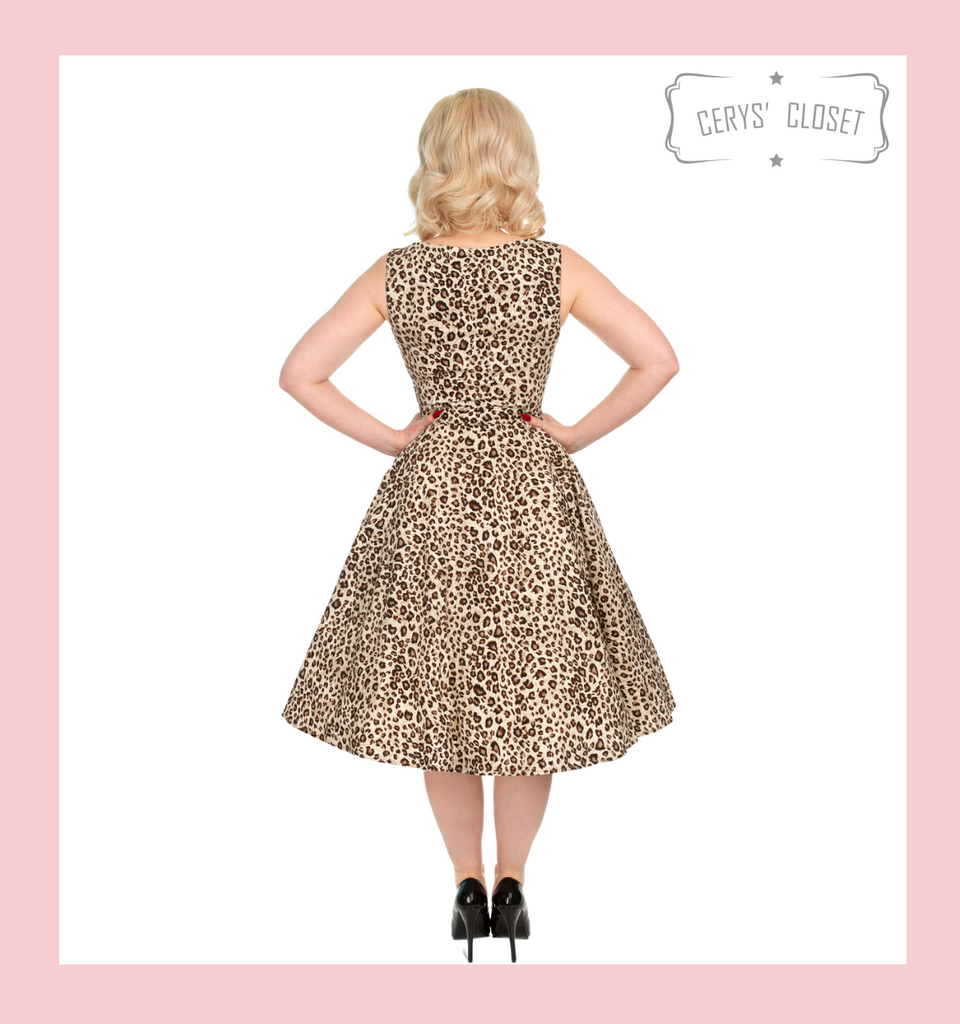 Leopard Print Audrey 50s Vintage Inspired Swing Dress with Belted Waist - Leona