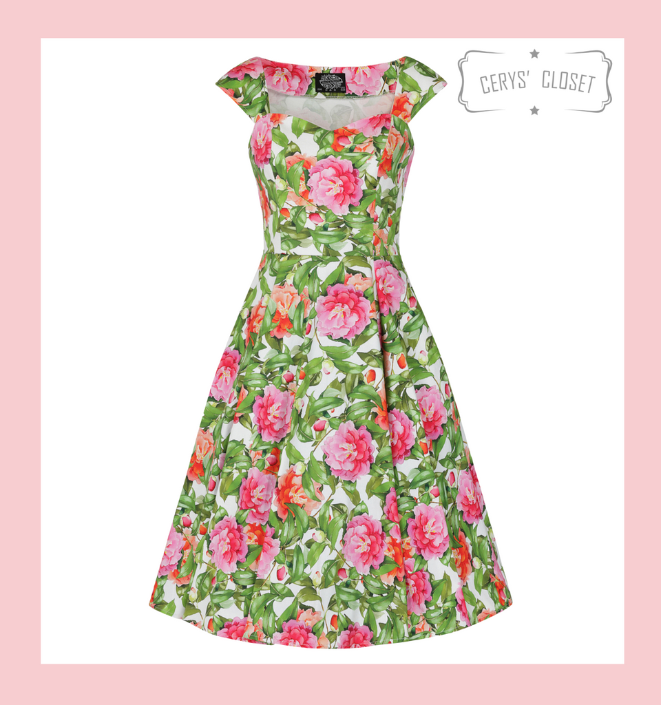 Hearts and Roses London Pretty Pink and Green Floral Capped Sleeve 50s Vintage Inspired Swing Dress - Penny at Cerys' Closet