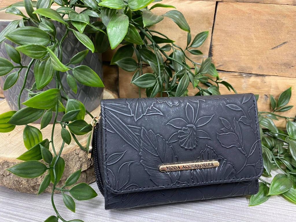 Floral Embossed Purse - Black