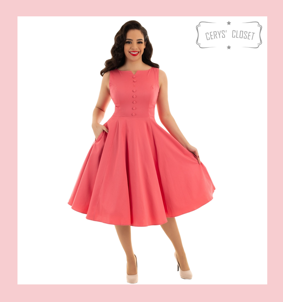 Pretty Pink Sleeveless Faux Button Front 50s Vintage Style Swing Dress - Emmy