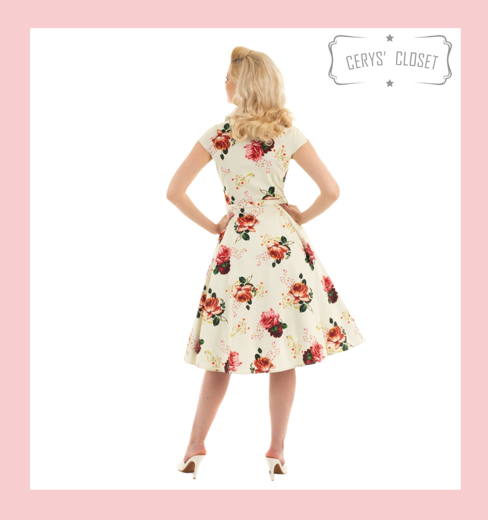 Hearts and Roses London Buttermilk and Peach Rose Covered Floral 50s Vintage Inspired Swing Shirt Dress With Cap Sleeves at Cerys' Closet
