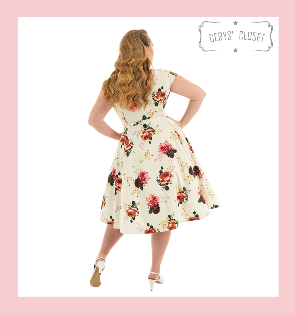 Buttermilk and Peach Rose Covered Floral 50s Vintage Inspired Swing Shirt Dress With Cap Sleeves - Hazel