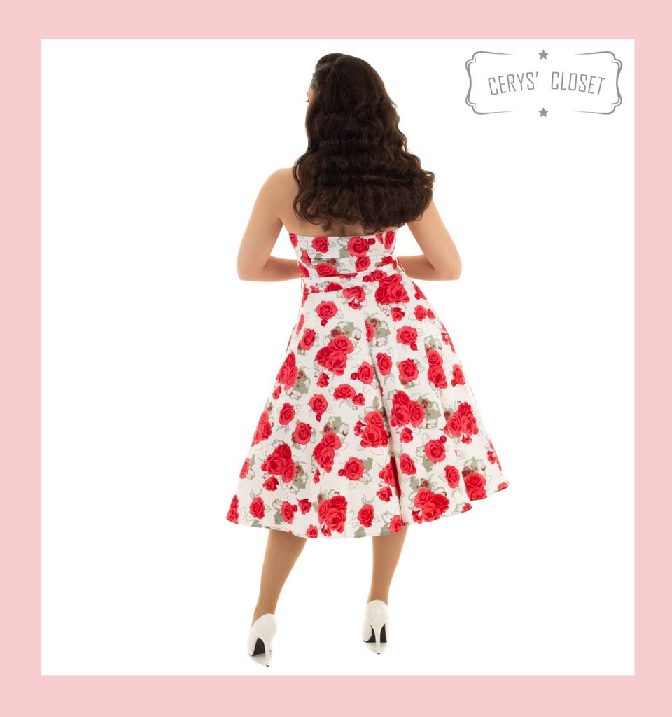 Red Rose Floral Halter Neck 50s Vintage Inspired Sleeveless Swing Dress - Rosemary