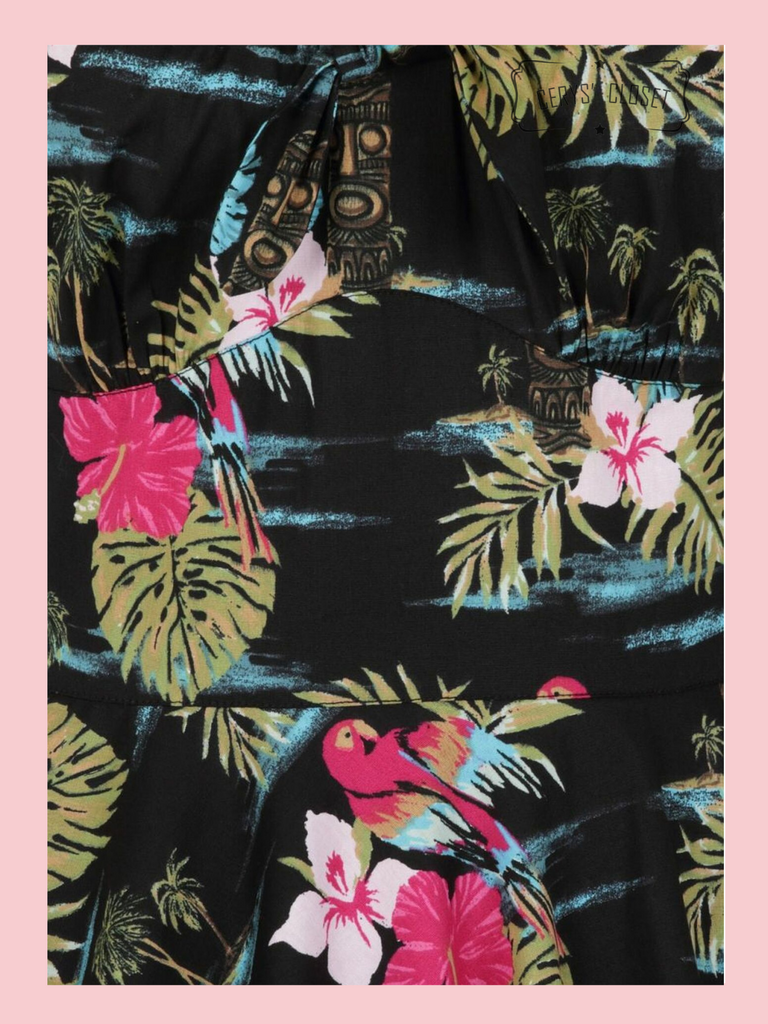 Hell Bunny Tropical Floral Parrot and Tiki Print 50s Vintage Inspired Swing Dress